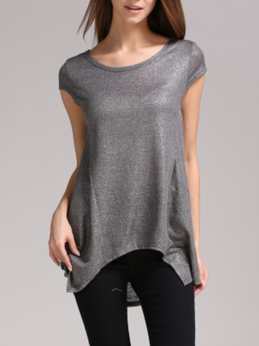 Round Neck Asymmetric Hem Plain Short Sleeve T-Shirt