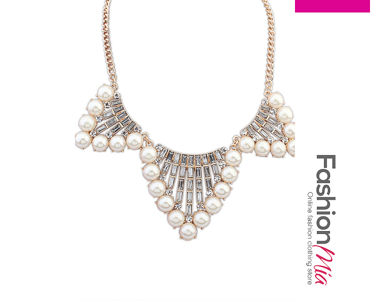 Image of Alloy Imitated Crystal Beads Necklace