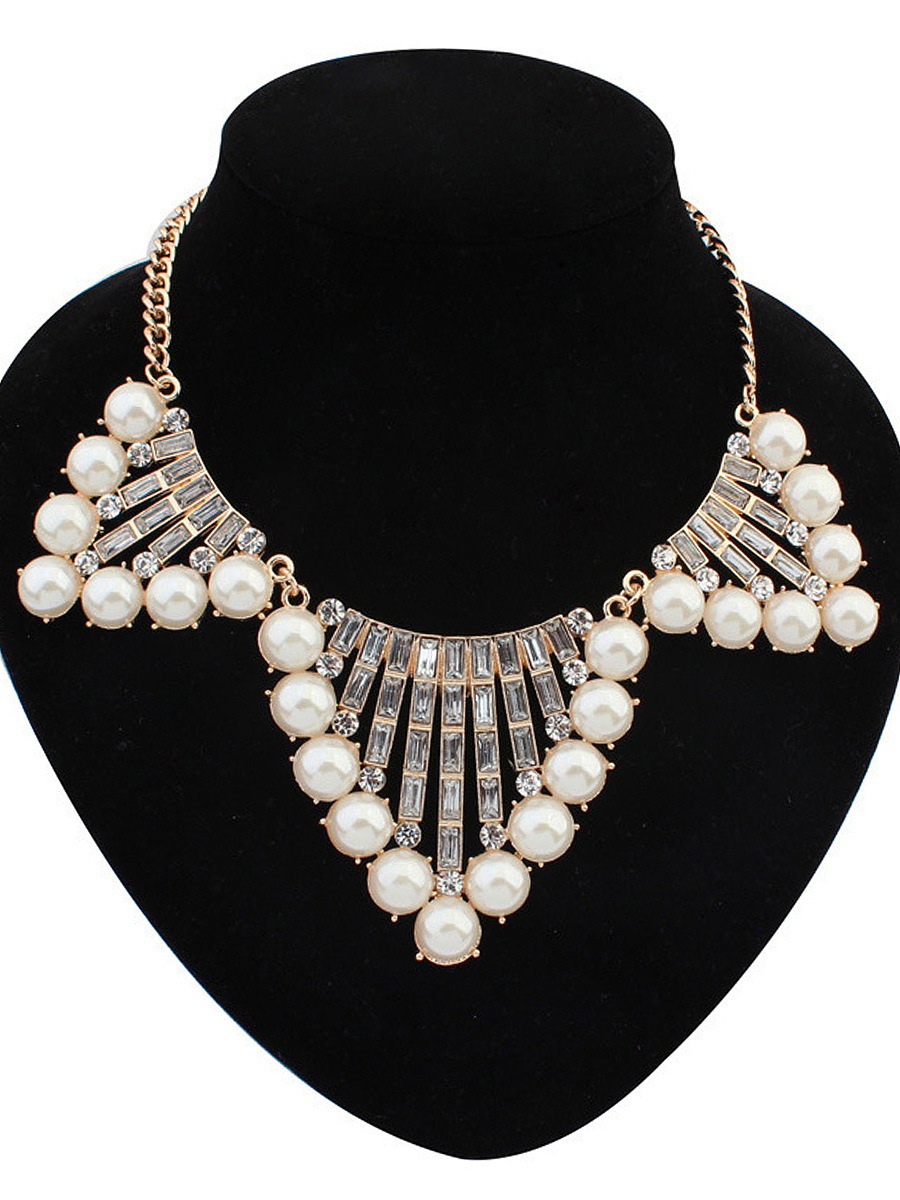 Gold Plated Faux Crystal Pearl Necklace