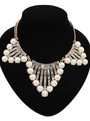 Alloy Imitated Crystal Beads Necklace