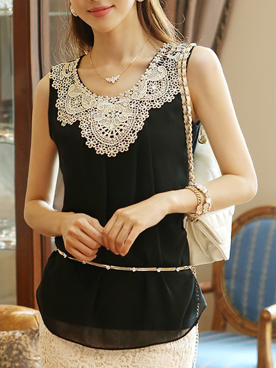 Decorative Lace Rhinestone Plain Sleeveless T-Shirt
