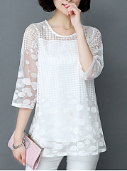 Lace  Round Neck  Plain  Three-Quarter Sleeve Blouse