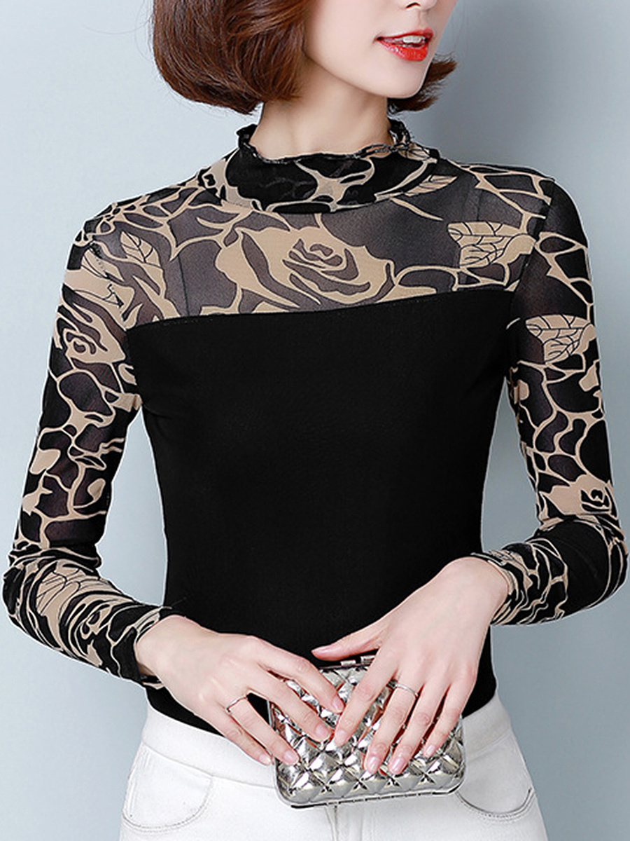 Band Collar Hollow Out Printed Long Sleeve T-Shirt