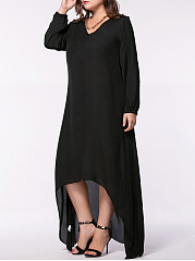 Loose High-Low V-Neck Solid Chiffon Plus Size Maxi Dress