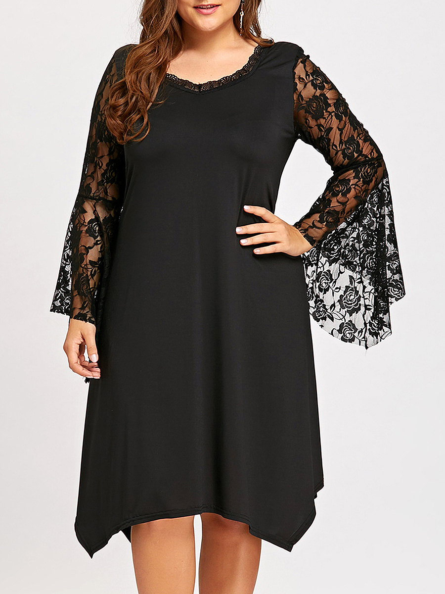 Boat Neck  Asymmetric Hem Decorative Lace  Plain  Polyester Shift Dress