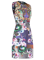 Round Neck Contrast Trim Printed Bodycon Dress