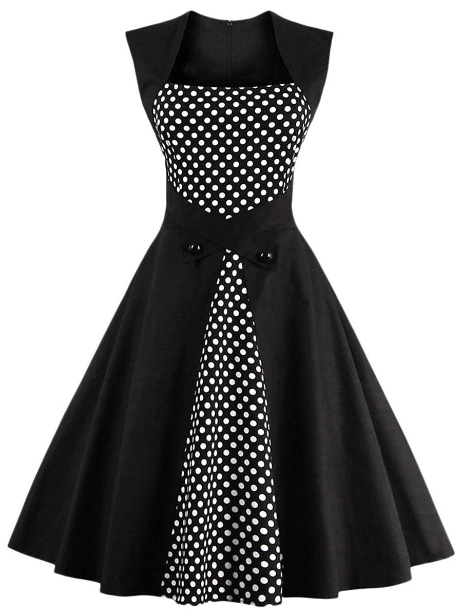 Vintage Sweet Heart Polka Dot Skater Dress