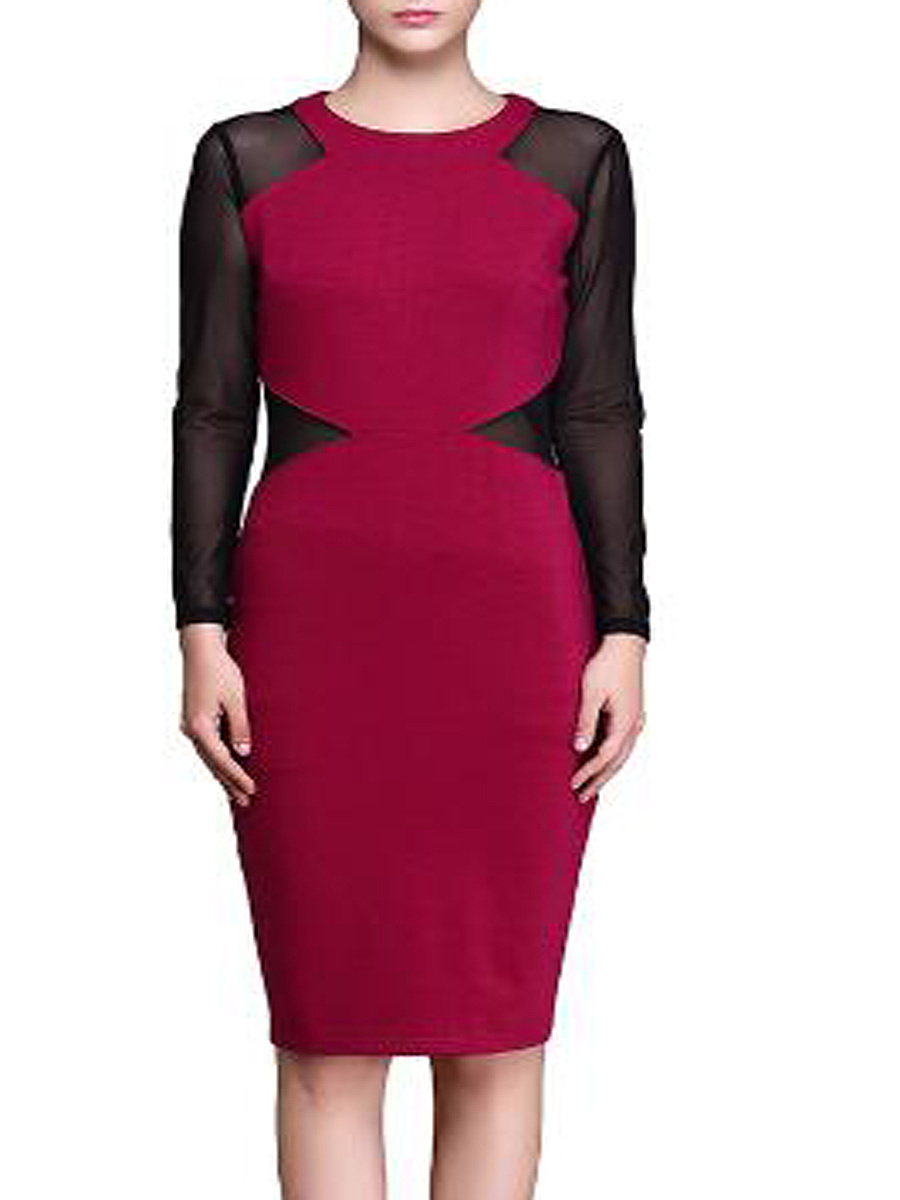 Round Neck  Patchwork  Plain  Blend Bodycon Dresses