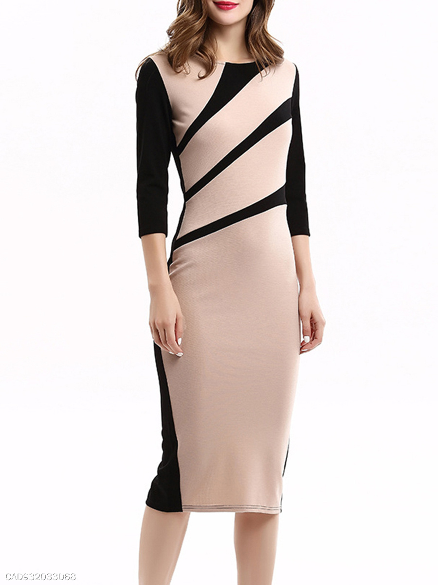 Graceful Round Neck Color Block Bodycon Dress