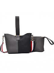 New Stylish Ribbon Strap Color Block Bucket Pu Hand Bag Set ( Two Pieces)