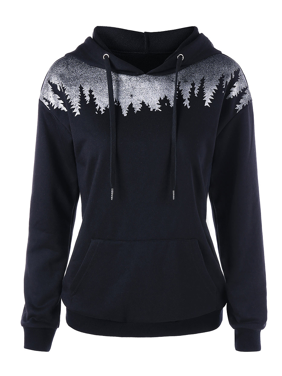 Patch Pocket  Decorative Patch  Long Sleeve Hoodies