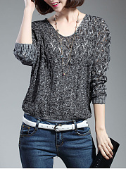 V-Neck Hollow Out Batwing Sleeve Sweater