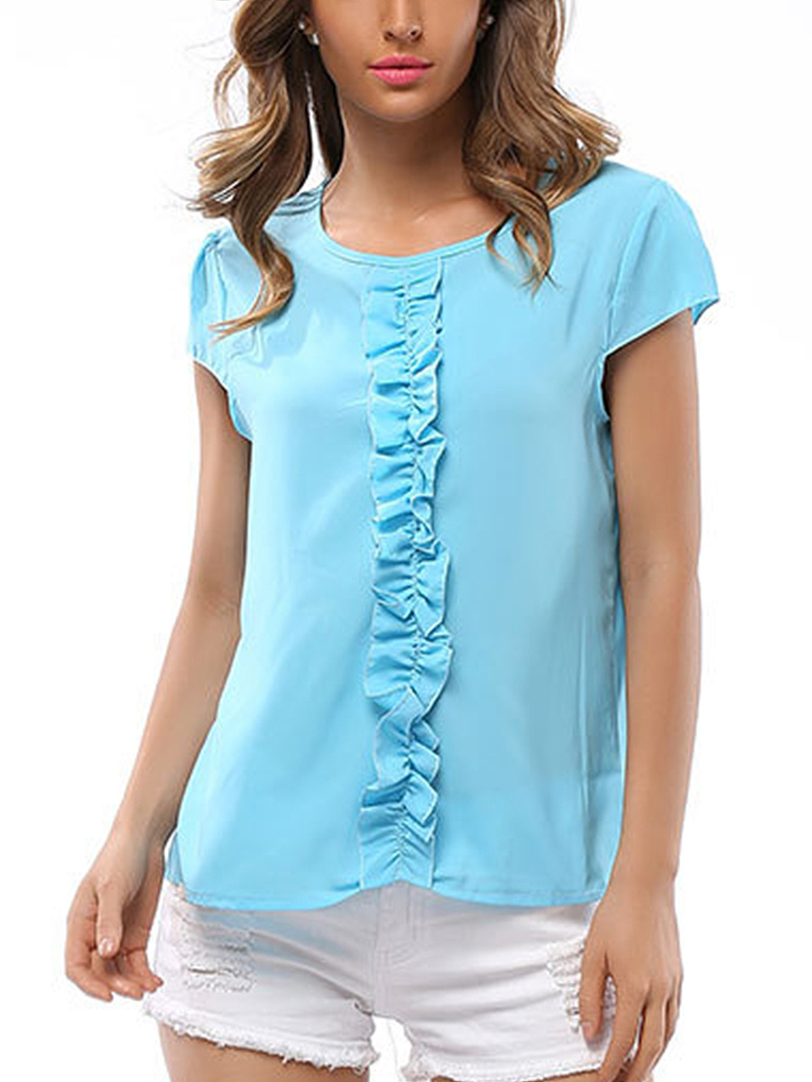 Round Neck Ruffle Trim Plain Blouse