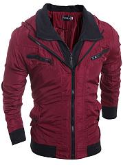 Hooded-Flap-Pocket-Color-Block-Men-Jacket
