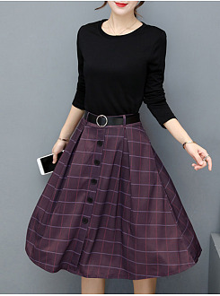 Plaid Belt Round Neck Pocket Midi Skater Dress