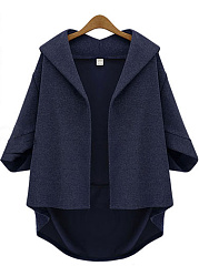 Lapel Plain Batwing Sleeve Coat