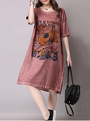 Round Neck  Distressed Printed Shift Dress
