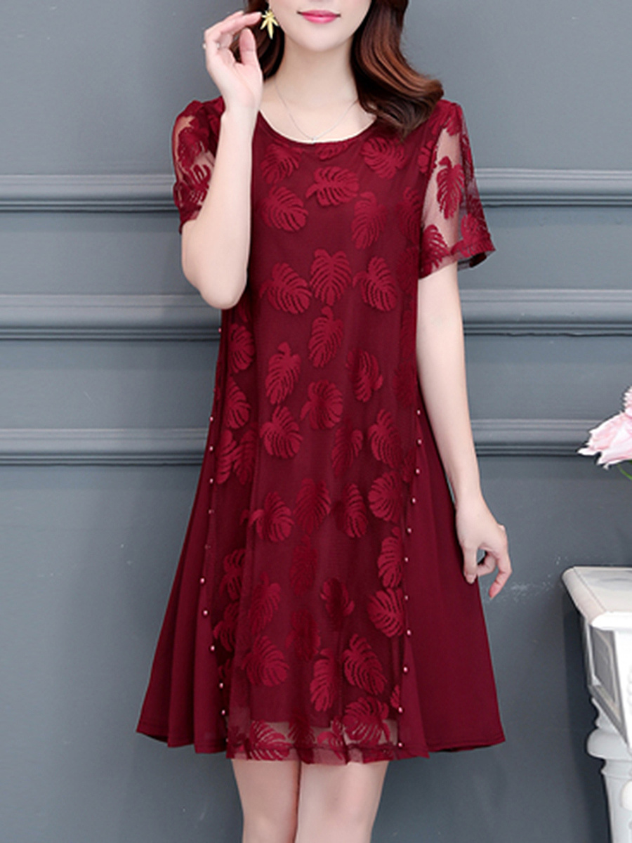 Round Neck  Beading Patchwork  Lace Shift Dress