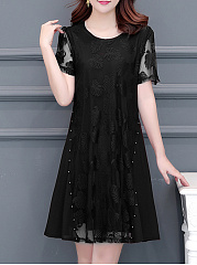 Round Neck  Beading Patchwork  Lace Shift Dress