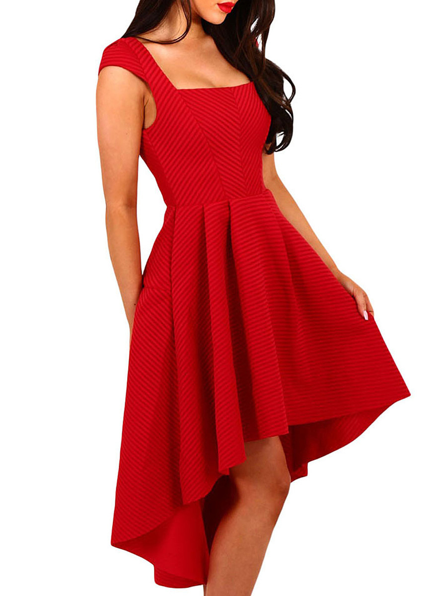 Square Neck  Asymmetric Hem  Curved Hem  Plain Skater Dress