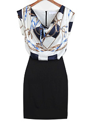 Cowl Neck  Abstract Print Bodycon Dress