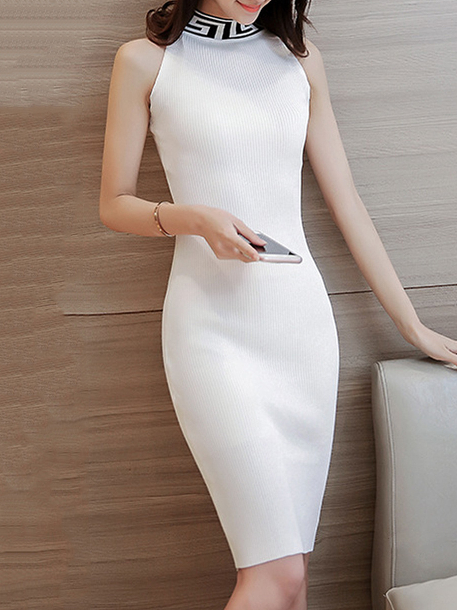 Band Collar Sleeveless Knitted Bodycon Dress
