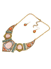 Hollow Geometric Color Resin Rhinestone Clavicle Chain Necklace Set