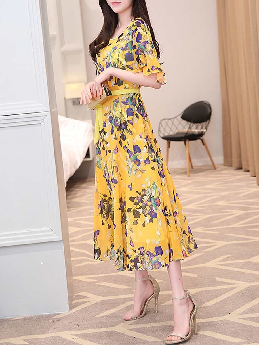 Hollow Out Printed Bowknot Bell Sleeve Maxi Dress