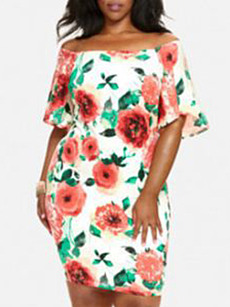 Open Shoulder  Floral Printed Plus Size Bodycon Dress