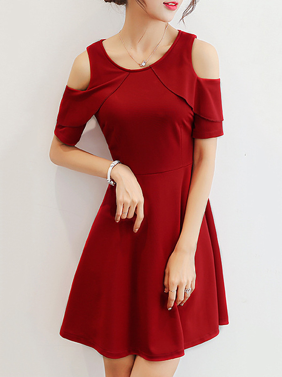 Open Shoulder  Flounce  Plain Skater Dress