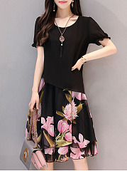 Floral Printed Chiffon Round Neck Shift Dress