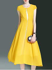 Office Color Block Chiffon Round Neck Midi Skater Dress