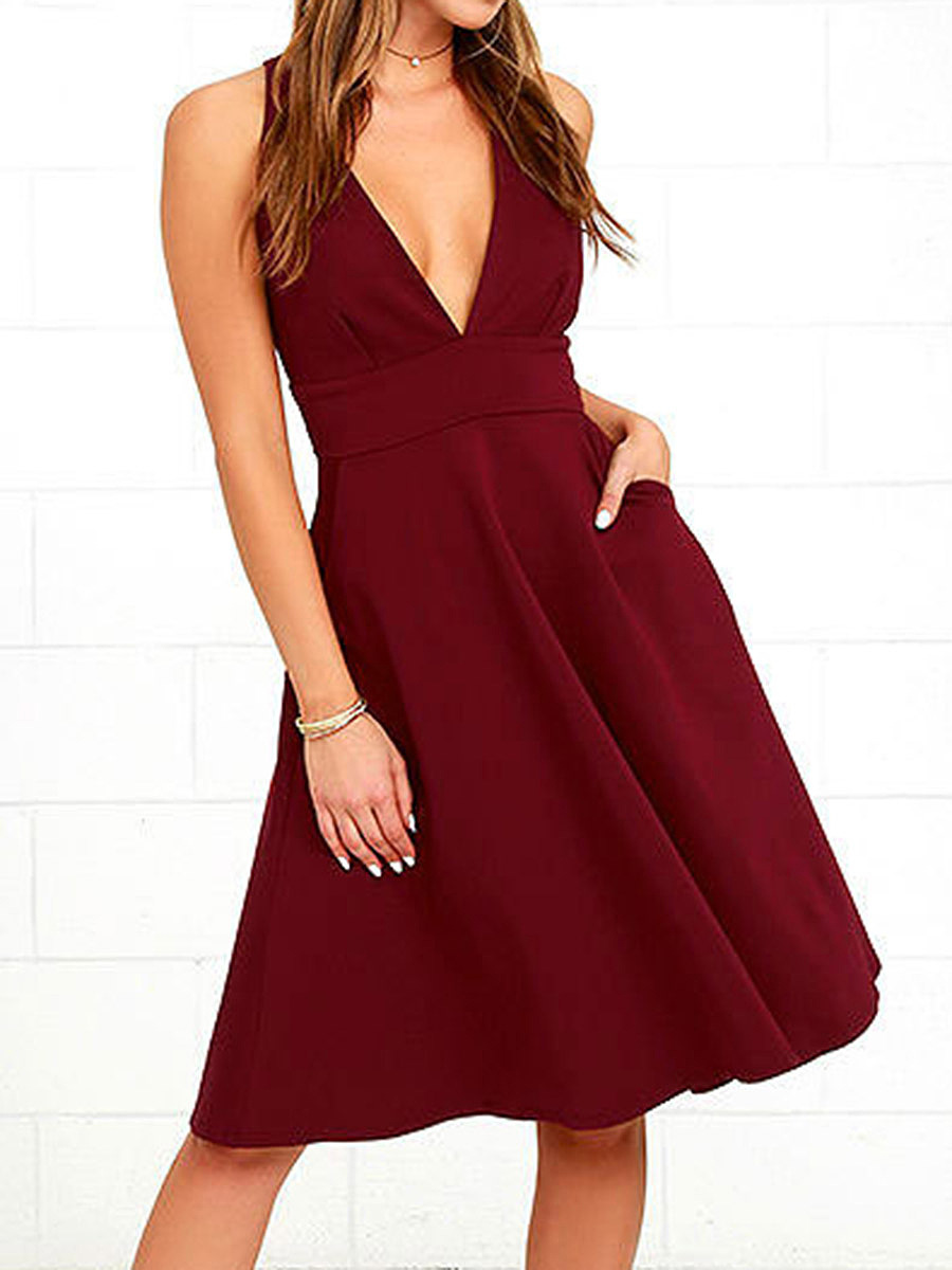 Sexy Deep V-Neck Pocket Plain Skater Dress