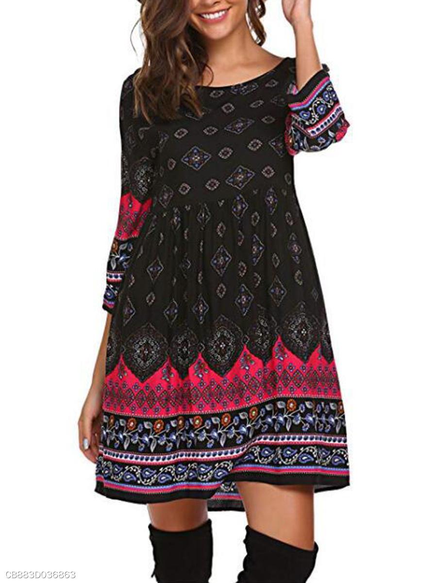 ca6acaf9e01 Daily Round Neck Printed Shift Dress - fashionMia.com