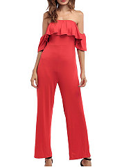 Off Shoulder  Backless  Tiered  Plain  Bootcut Jumpsuits