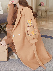 Lapel Belt Embroidery Puff Sleeve Woolen Coat