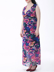 Deep V-Neck Hot Hollow Out Printed  Chiffon Plus Size Maxi Dress