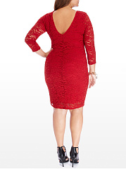 Crew Neck  Hollow Out Plain Plus Size Bodycon Dresses