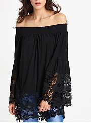 Off Shoulder  Decorative Lace Patchwork  Plain  Bell Sleeve Long Sleeve T-Shirts