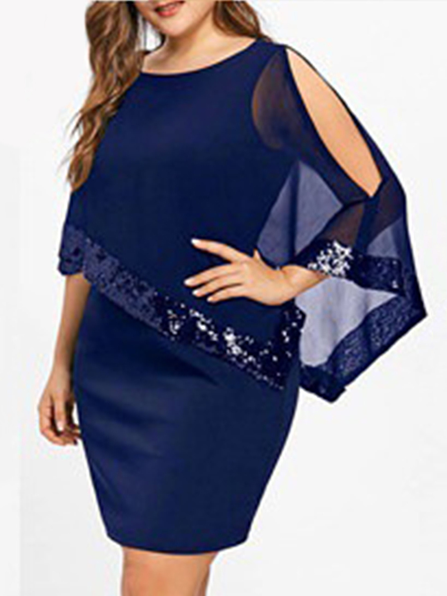 Round Neck  See-Through  Glitter  Plain Plus Size Bodycon Dresses