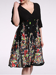 Colorful Printed Empire Deep V-Neck Plus Size Flared Dress