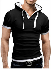 Mens Color Block Hooded Short T-Shirt