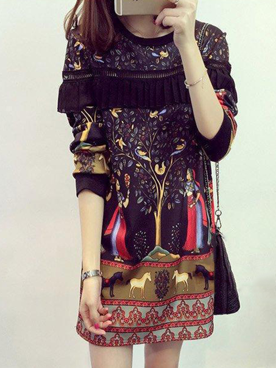 fashion printed casual autumn winter shift Round Neck  Printed Shift Dress