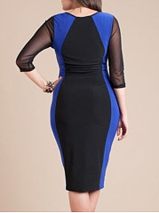 Patchwork  Plain Plus Size Bodycon Dresses