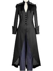 Hooded Lace-Up Single Breasted Plain Duster Coat