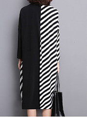 Cowl Neck  Patchwork  Striped Shift Dress