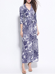 V-Neck  Printed Date Fashsion Maxi Dress