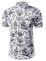 Turn Down Collar  Abstract Print  Short Sleeve Short Sleeves