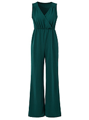 Deep-V-Neck-Plain-Wide-Leg-Jumpsuit