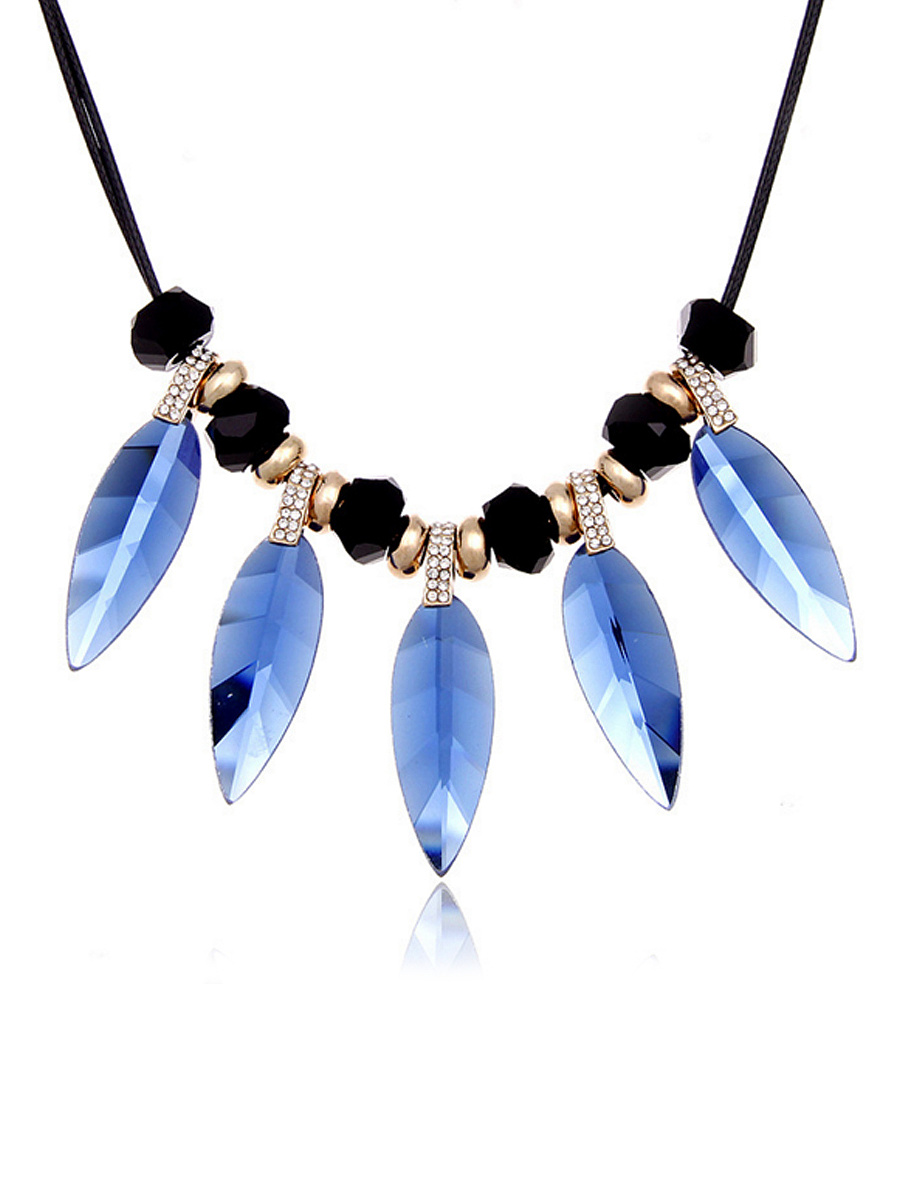 Blue Crystal Feather Boho Necklace